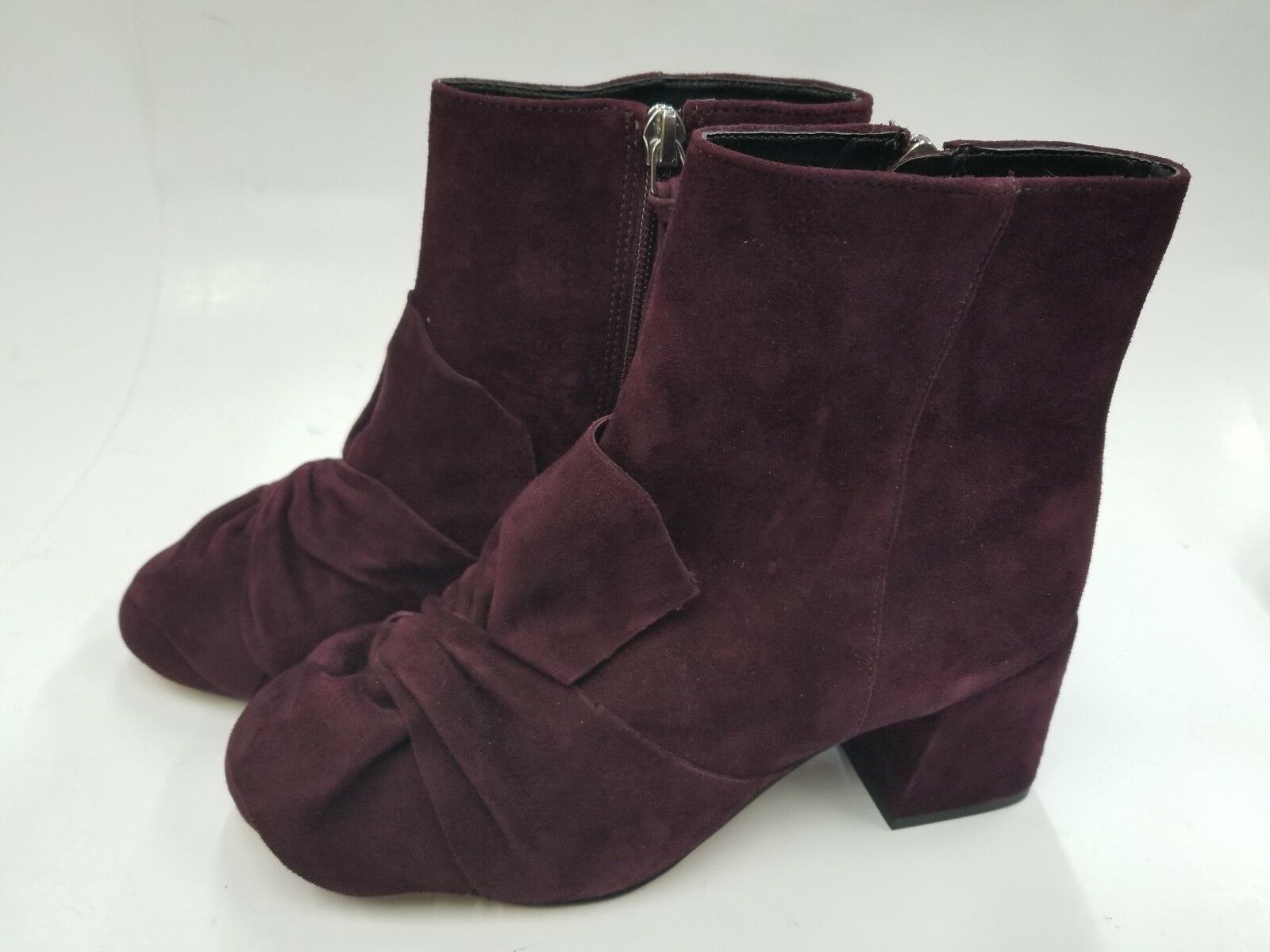NEW REBECCA MINKOFF MAROON SUEDE ANKLE BOOTS SIZE 6