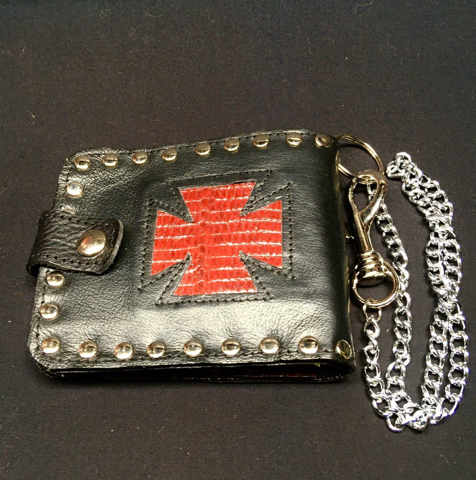 Iron Cross Genuine Lizard Skin Leather Bi-fold Wallet Key Belt Chain Biker