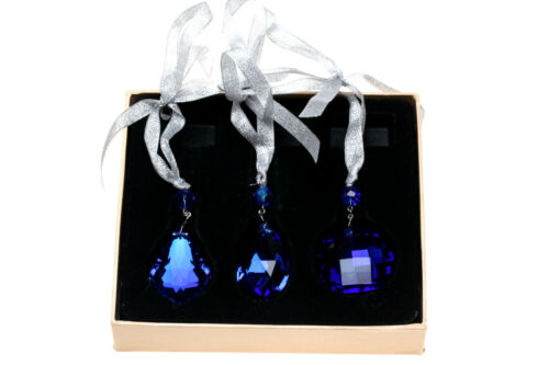 KIRKS FOLLY SHIMMER CRYSTAL HANGING WINDOW ORNAMENT SET BLUE ~ BOXED set of 3