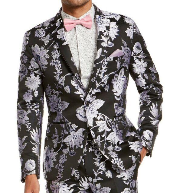 INC Mens Blazer Black Size Small S Floral Jacquard Metallic Slim Fit $149 #030