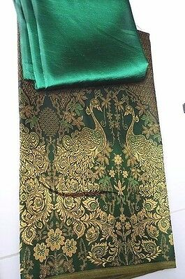 Green Rayon Silk Fabric Synthetic Thai Tradition Wedding dress peacock 2pcs