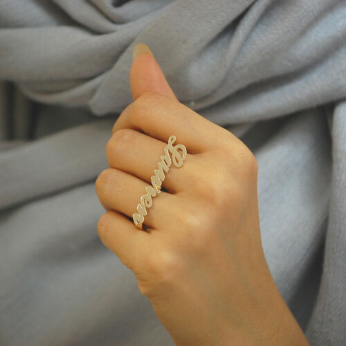 10K Solid Gold Two Finger Name Ring Custom Made Personalized Fine Jewelry NR40