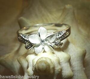 11MM-HAWAIIAN-SOLID-STERLING-SILVER-MATTED-PLUMERIA-MAILE-CLEAR-CZ-RING-5-0-10-5