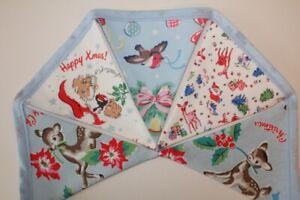 Handmade-Cath-Kidston-Christmas-Bunting-Blue-Robins-Xmas-Decoration-Garland