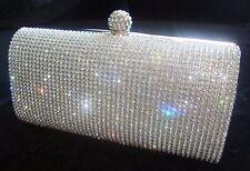 Prom Silver Diamond Crystal Stone Evening bag Clutch Purse Party Wedding Bridal