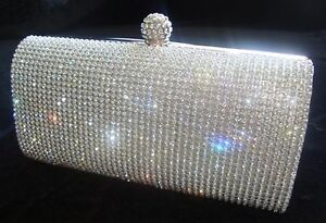 Image Is Loading Prom Silver Diamond Crystal Stone Evening Bag Clutch