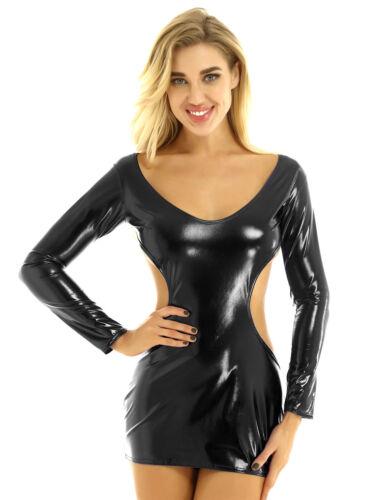 Women/'s Shiny Bodycon Wetlook Mini Dress Backless Clubwear Raves Dance Costumes