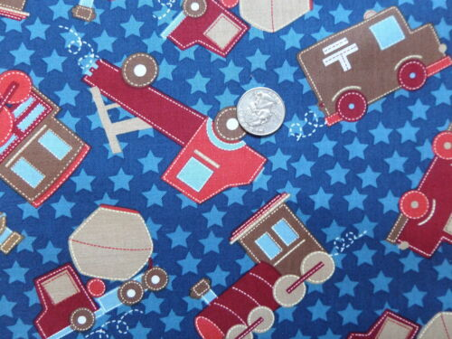 MOVING /& SHAKING Boys Blue Trucks Trains BTR6443 Quilting Fabric by the 1//2 YARD