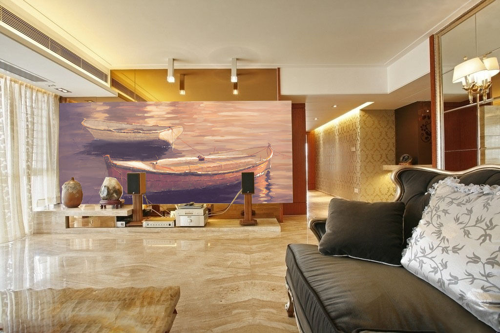 3D River Water Boat Paper Wall Print Wall Decal Wall Deco Indoor Murals