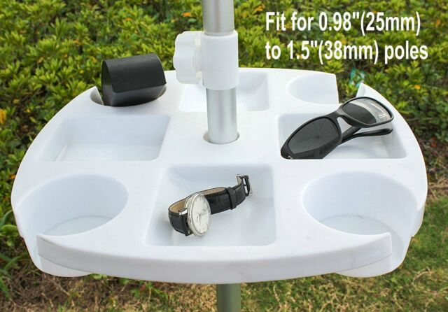 Ammsun Plastic Beach Umbrella Table With 4 Cup Holders White 17 Inch
