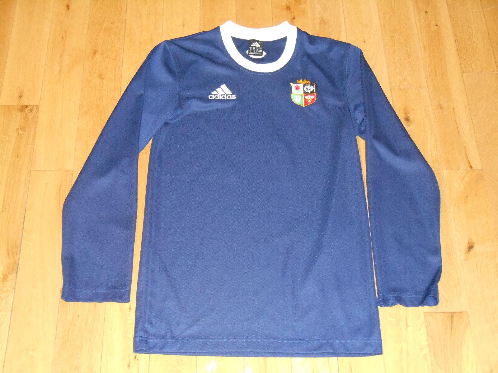 British & amp;Maillot de rugby Lions irlandais # 10 Adidas à manches longues Bleu Hommes X-Small