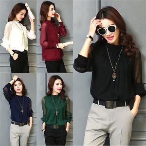 Fashion-Women-039-s-Chiffon-Elegant-Loose-Top-Long-Sleeve-Blouse-Casual-Top-T-shirt