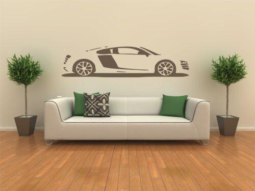 Audi R8 Auto Wand Aufkleber Vinyl Grafik Aufkleber Wandkunst Übertragung
