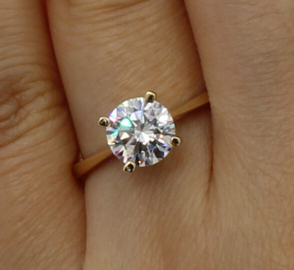 1 Ct 14K Yellow gold Round 4 Prong Basket Set Classic Solitaire Engagement Ring