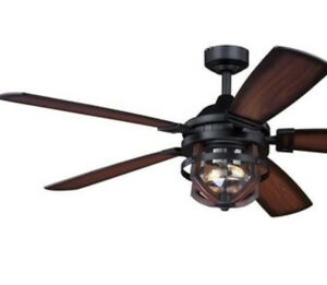 Indoor Outdoor 54 in Ceiling Fan Reversible Blades Dimmable LED Weathered Zinc