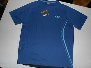 Maillot-UMBRO-Power-polyester-Taille-L-XL-Bleu-HOMME-Top-Manches-courtes-Stretch
