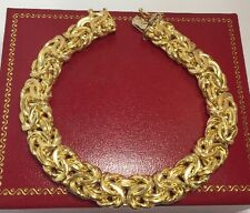 Designer 18k Yellow Gold Byzantine Wheat Braided Artisan Tennis 14k Bracelet 7""