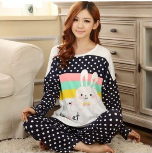 Womens-Cotton-Cute-Two-Piece-Short-Sleeve-Camisole-Dress-Cartoon-Summer-Pajamas