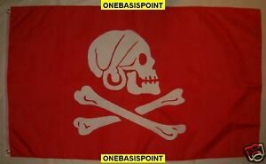 3X5 RED HENRY AVERY FLAG PIRATE JOLLY ROGER NEW F147