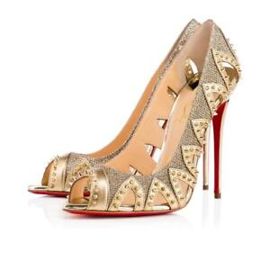 d2e5163a664 Details about 100% Authentic Christian Louboutin Circus City Gold 341/2