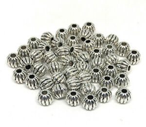 antiqued-silver-Tibetan-style-corrugated-round-beads-6mm