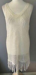 Ladies-White-Crochet-Knitted-Pullover-Dress-Kaftan-Festi-Beachwear-Holiday-Lrg