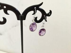 925-Sterling-Silver-Amethyst-Oval-Drop-Dangle-Earrings-Gemstones-Semi-Precious