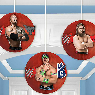 3 WWE Wrestling Champions Children's Party Hanging Paper Honeycomb Decorations