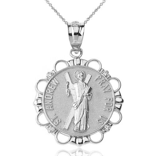 """10k Or Blanc Diamant Saint Andrew priez pour nous Cercle 1/"""" Collier Pendentif"""