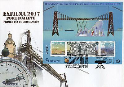 2019 Mode Spain 2017 Fdc Exfilna Portugalete Metal Bridge 1v M/s Cover Bridges Stamps
