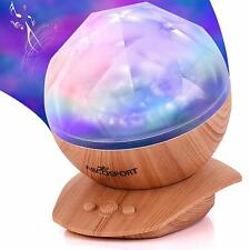 Abco Tech Soothing Aurora Borealis LED Night Light Projector Wood Furniture Look