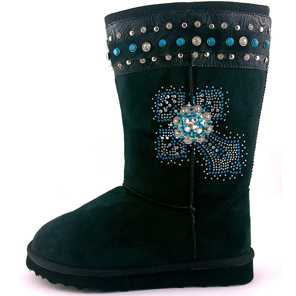 Turquoise Sheepskin Fleece Like Montana West Snow Hair Boots Bling Cross Concho