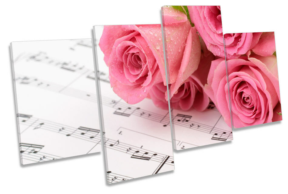 Pink Rose Flowers notas musicales LONA pared pared pared arte impresión de panel de cuatro a537fa