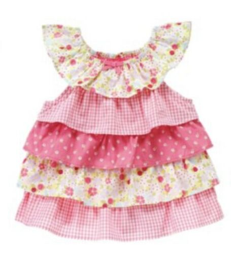 Gymboree Mini Blooms 12-18-24 mo Pink Ruffle Floral Top Tiered Shabby Chic 12