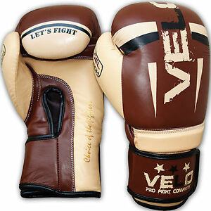 VELO-Boxing-Gloves-Leather-Gel-Fight-Punch-Bag-Muay-thai-MMA-Kickboxing-Sparring