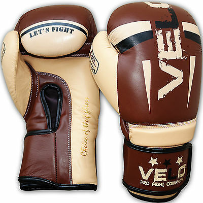 VELO Leather Gel Boxing Gloves Fight Punch Bag Muay thai MMA Kickboxing Pad CHK