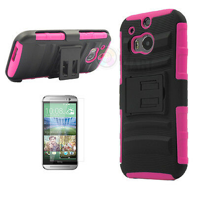 For HTC One M8 Armor Shockproof Heavy Hard Stand Phone Case Cover + Holster Film