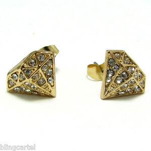 icedout earrings shape earrings gold tone iced out new bling stud 7375