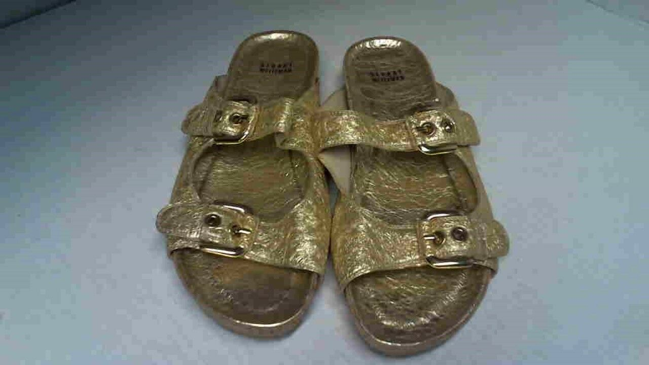 Pre-owned Stuart Weitzman Leather Freely Metallic gold Foil Buckle Sandal 8.5