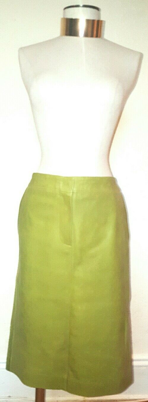 Max Mara Olive Green Lamb Leather Skirt Size 10 NWT Retail 945