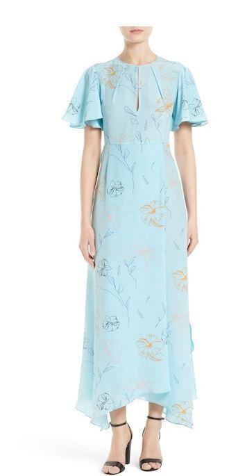 Diane Diane Diane Von Furstenberg Fenelon Bright Ice bluee Floral Print Silk Long Dress 2 70391e