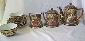 Vintage-9-Pc-Takito-Japan-TT-HP-Satsuma-Tea-Set-Gold-Moriage