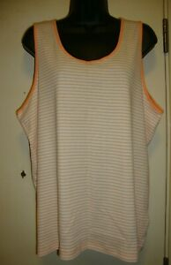 20 New Womens size XXL Blue White Striped Tank Top 100/% Polyester with tags