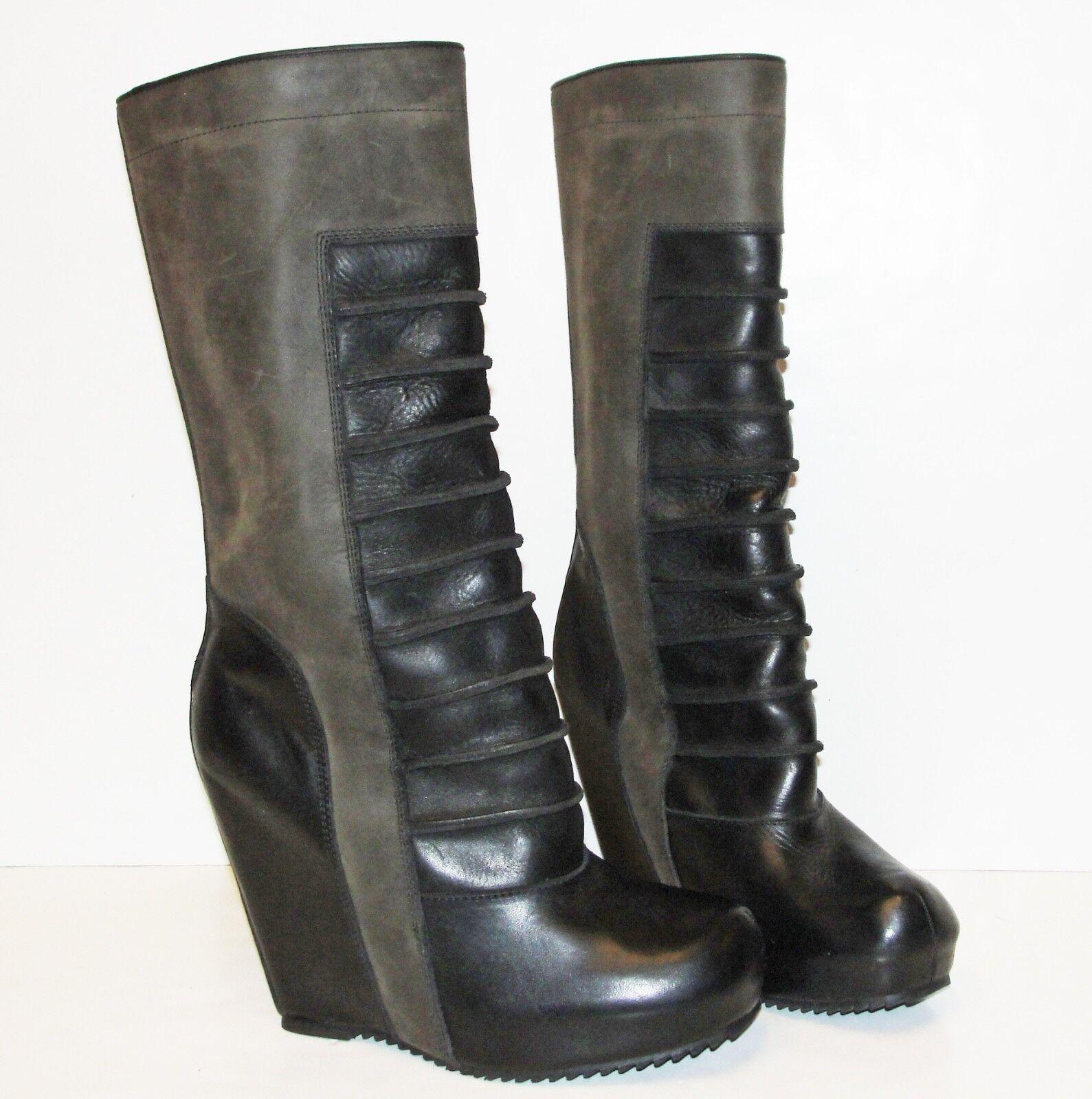 RICK OWENS Grün braun Ribbed Calf Leather Ruhlmann Wedge Mid Calf Ribbed Stiefel 38.5 NEW b8ff4c