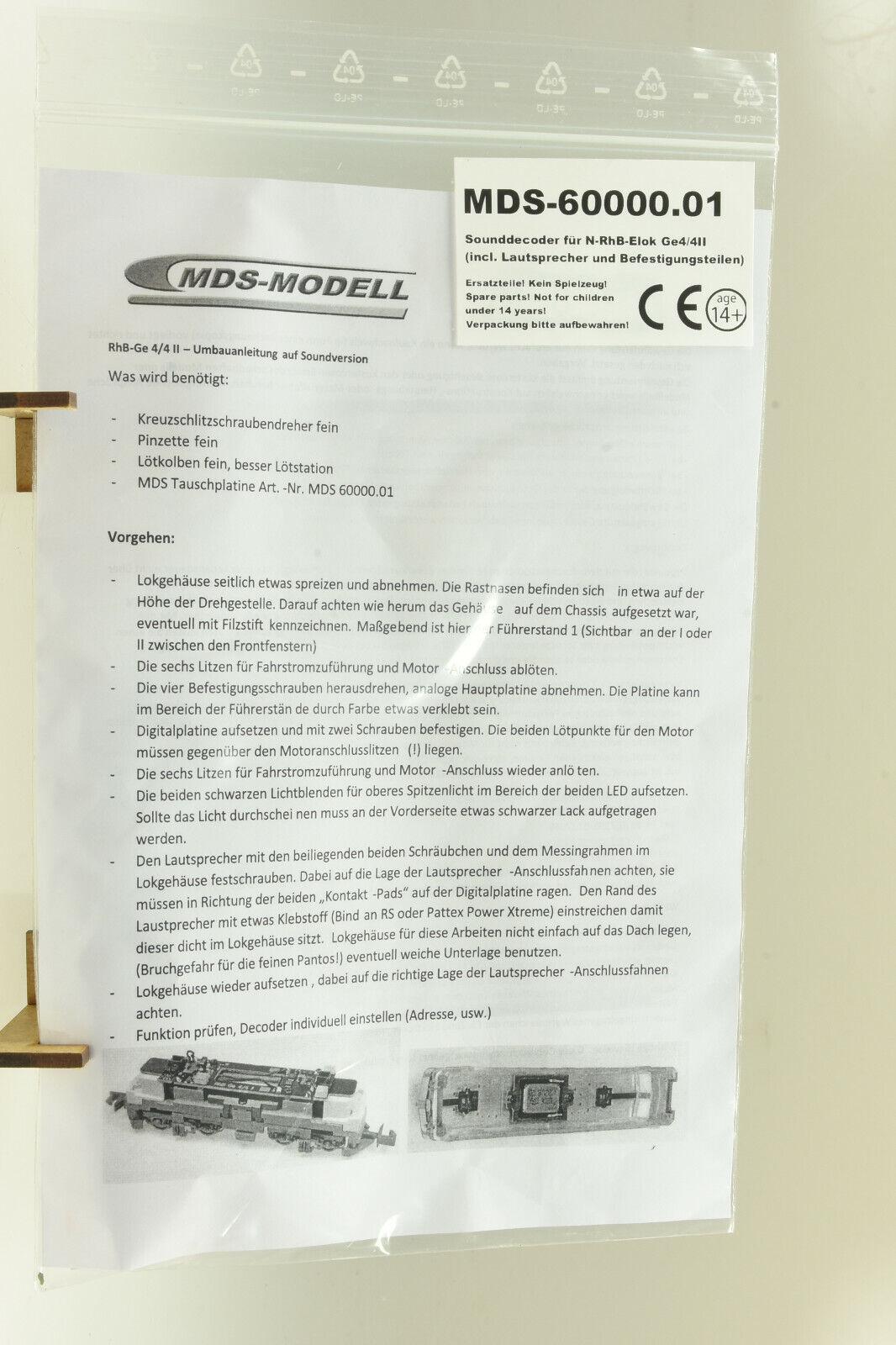 MDS-modelo 60000.01 pista n intercambio placa DCC mm Sound onboard RHB elok ge4 4ii