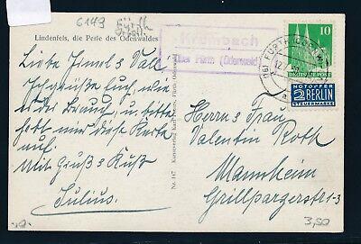 Karte 1950 Halten Sie Die Ganze Zeit Fit odenwald Modestil 25018 Landpost Ra2 Krumbach über Fürth