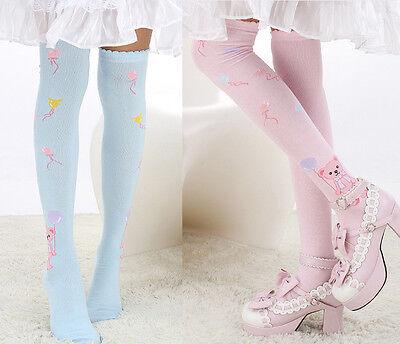 Cute Bear Knit Lolita Sock Emo Over Knee Thigh-high Stocking Dance Cosplay