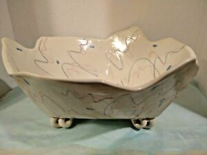 Handmade-Pottery-Footed-Bowl-Signed-INGRID-Off-White-with-Pink-and-Blue-Glazed