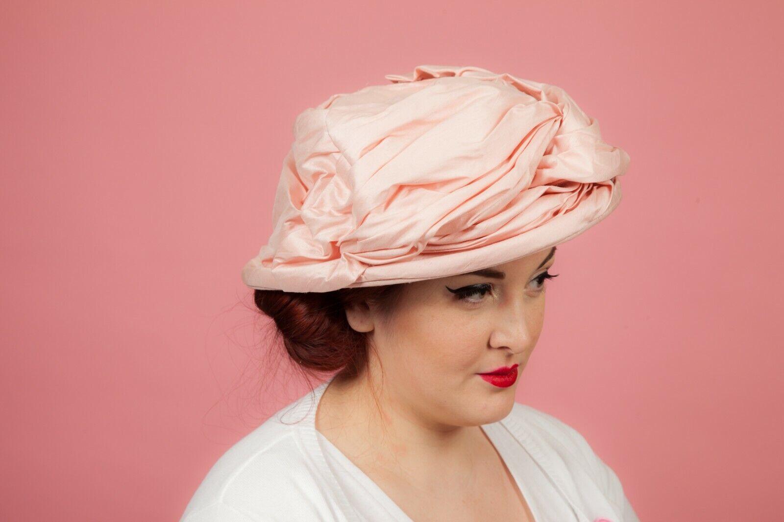Pale Pink ruffled meringue silk formal hat by Pamela Bromley - Wedding Races