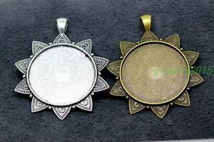 Tibetan Silver Cameo Cabochon Base Setting Charms Pendants 3-50pcs 61x48mm 2B#